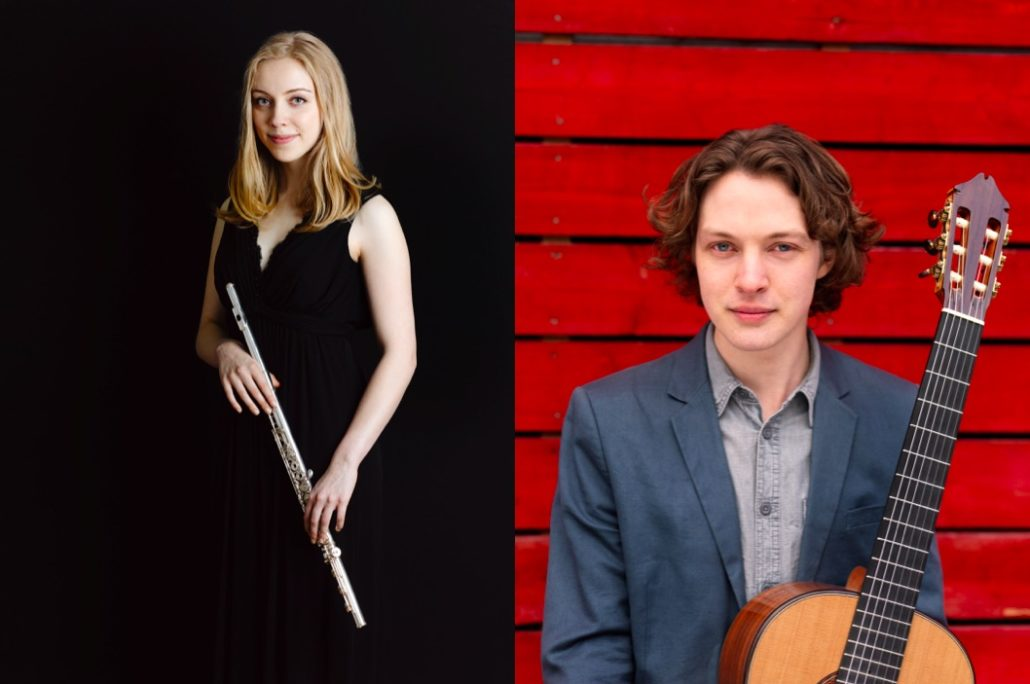 Flautist Bronte Hudnott and classical guitarist Andrey Lebedev