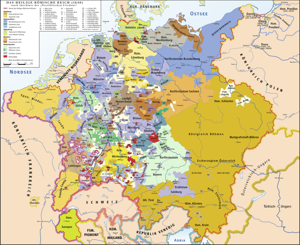 Map of the Holy Roman Empire 1648